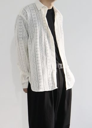 Collaboration Long Sleeves Plain Street Style Lace Oversized