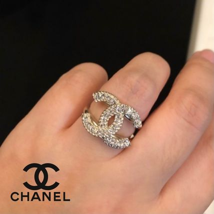 CHANEL ICON Costume Jewelry Blended Fabrics Rings