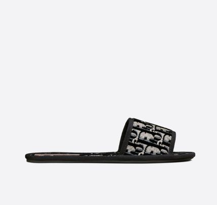 Christian Dior Open Toe Rubber Sole Casual Style Street Style Logo Sandals
