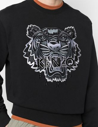 KENZO Long Sleeves Plain Cotton Logo Designers Sweatshirts