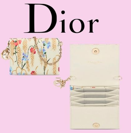 Christian Dior LADY DIOR Flower Patterns Casual Style Leather Party Style