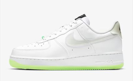 Nike AIR FORCE 1 Rubber Sole Lace-up Casual Style Street Style Plain Leather
