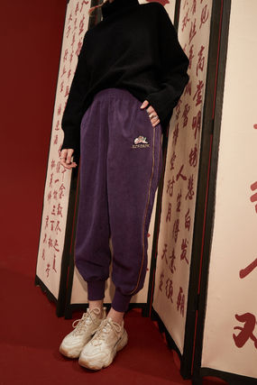 ELF SACK Casual Style Street Style Long Logo Sarouel Pants