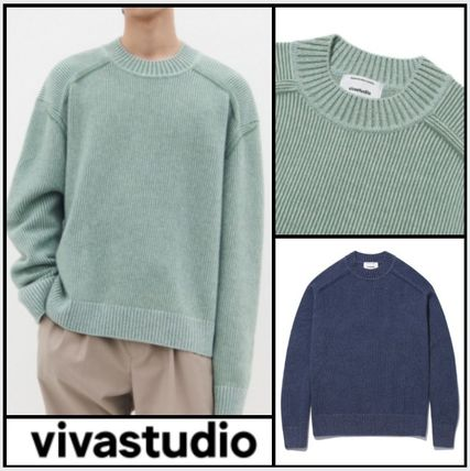 vivastudio Sweaters Unisex Wool Nylon Street Style U-Neck Long Sleeves Plain
