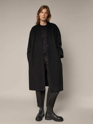 Massimo Dutti Wool Plain Long Office Style Elegant Style Wrap Coats