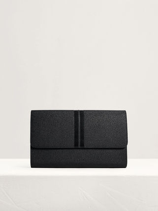 Pedro Logo Plain Leather Street Style Clutches