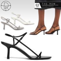 The Row Open Toe Round Toe Casual Style Plain Leather Pin Heels