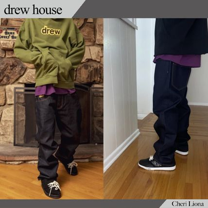 drew house More Jeans Unisex Denim Blended Fabrics Street Style Cotton Logo Jeans