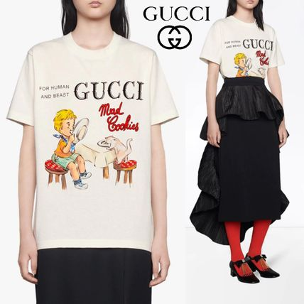 GUCCI More T-Shirts Unisex Street Style Cotton Short Sleeves Luxury T-Shirts