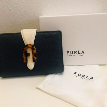 FURLA Bi-color Plain Leather Folding Wallet Small Wallet Logo