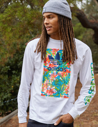 adidas Crew Neck Street Style Long Sleeves Cotton