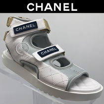 CHANEL Platform Casual Style Blended Fabrics Plain Leather
