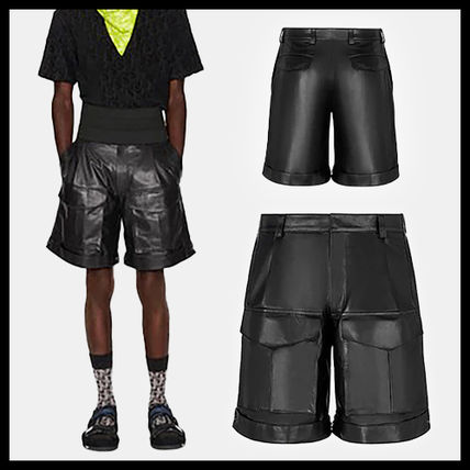 Christian Dior Street Style Plain Leather Cargo Shorts