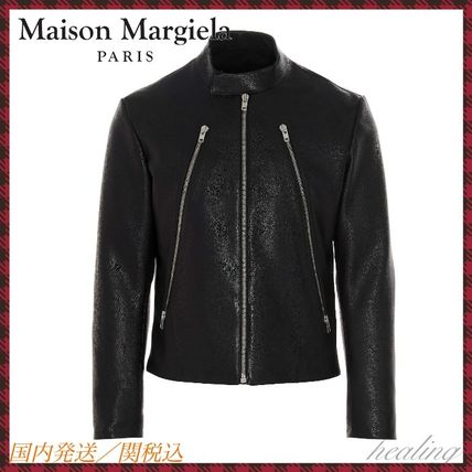 Maison Margiela Short Street Style Plain Leather Logo Biker Jackets