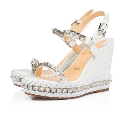 Christian Louboutin Open Toe Casual Style Studded Plain Leather Elegant Style