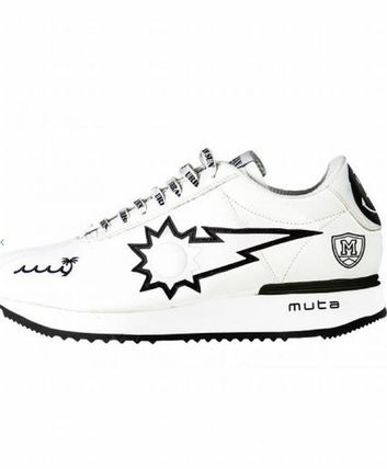 Street Style Collaboration Leather Logo Sneakers