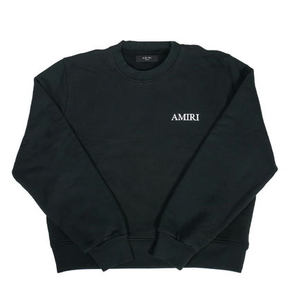 AMIRI Crew Neck Pullovers Unisex Street Style Long Sleeves Cotton