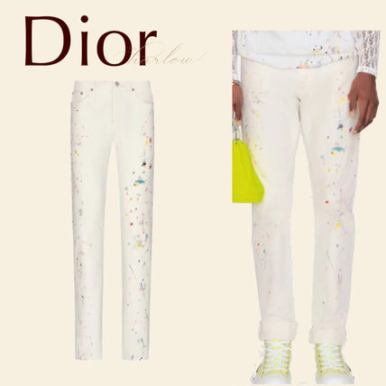 Christian Dior More Jeans Printed Pants Dots Street Style Plain Cotton Handmade Logo