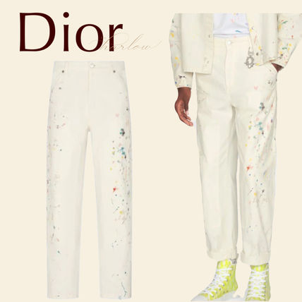 Christian Dior More Jeans Printed Pants Dots Street Style Plain Cotton Handmade