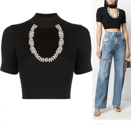 Short Plain Short Sleeves With Jewels Cropped