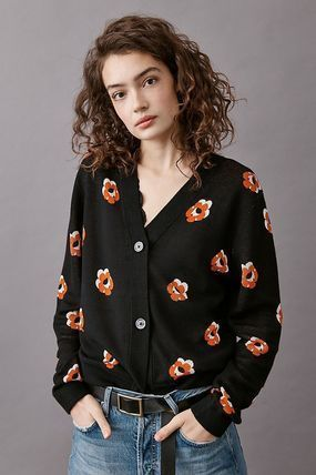 Flower Patterns Casual Style Long Sleeves Party Style