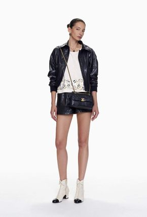 CHANEL Short Casual Style Leather Leather & Faux Leather Shorts