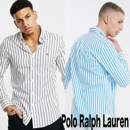 POLO RALPH LAUREN Shirts Stripes Street Style Long Sleeves Cotton Logo Surf Style