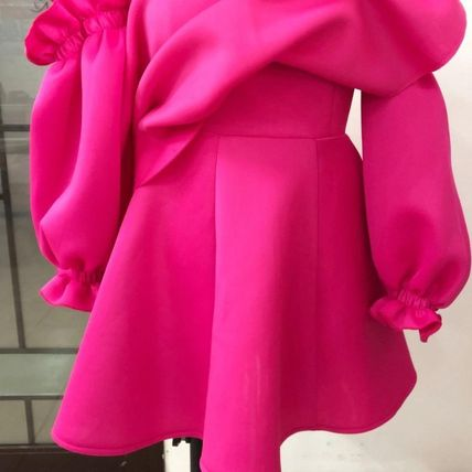 Flared Long Sleeves Puff Sleeves Bridal Neon Color Dresses