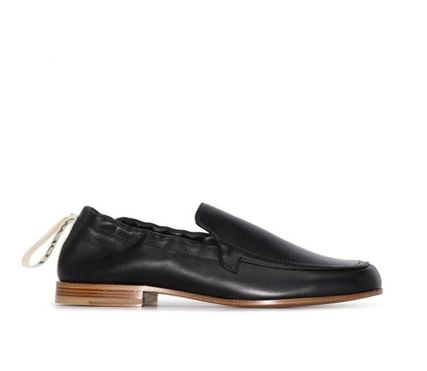 LOEWE Square Toe Casual Style Plain Leather Party Style