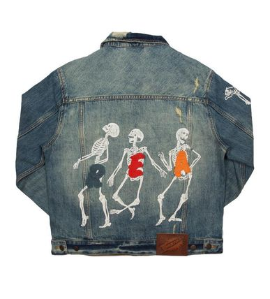 Short Denim Street Style Plain Denim Jackets Oversized Logo