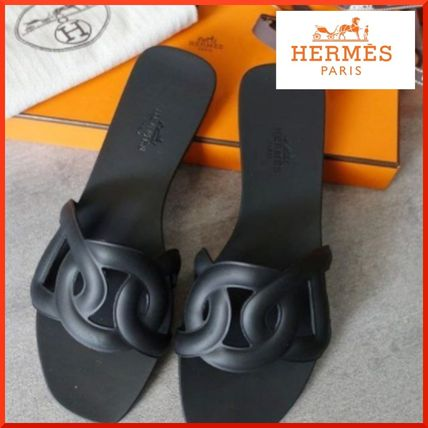 HERMES Rubber Sole Leather Logo Sandals