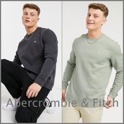 Abercrombie & Fitch Sweatshirts Crew Neck Pullovers Unisex Street Style Long Sleeves Plain
