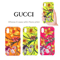 GUCCI Flower Patterns Unisex iPhone X iPhone XS Logo Neon Color