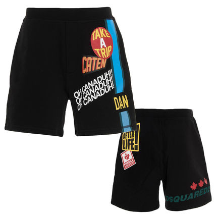 D SQUARED2 Sweat Street Style Cotton Logo Joggers Shorts