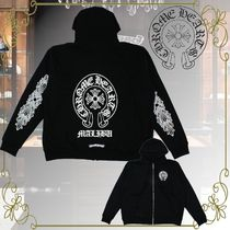 CHROME HEARTS Unisex Long Sleeves Cotton Logos on the Sleeves Logo Hoodies