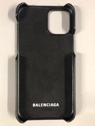 BALENCIAGA Unisex Street Style Plain Leather Logo Tech Accessories