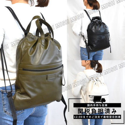 BOTTEGA VENETA Casual Style Unisex Street Style Plain Leather Backpacks