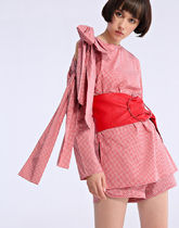 MISS SIXTY Crew Neck Short Gingham Casual Style Long Sleeves Cotton