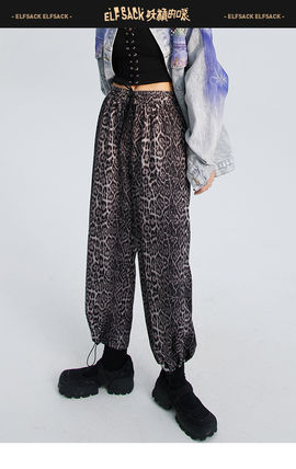 ELF SACK Leopard Patterns Casual Style Street Style Long