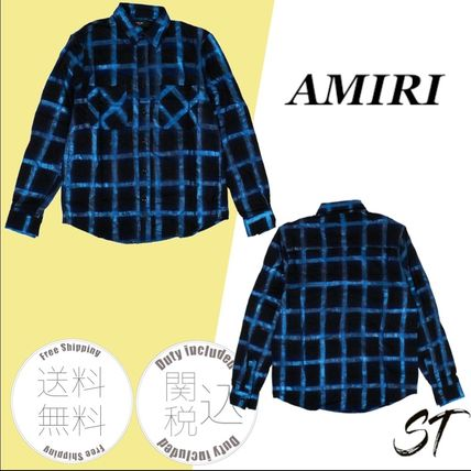 AMIRI Logo Other Plaid Patterns Button-down Long Sleeves Cotton