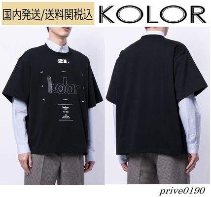 KOLOR Crew Neck Crew Neck Street Style U-Neck Plain Cotton Short Sleeves