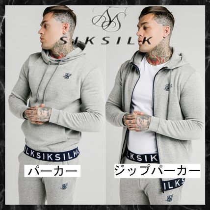 SikSilk Hoodies Pullovers Sweat Street Style Long Sleeves Cotton Logo