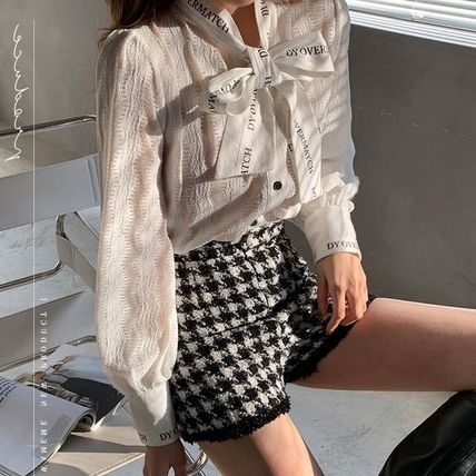Stripes Casual Style Long Sleeves Medium Long Lace