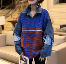 Cable Knit Lace-up Casual Style Denim Dolman Sleeves