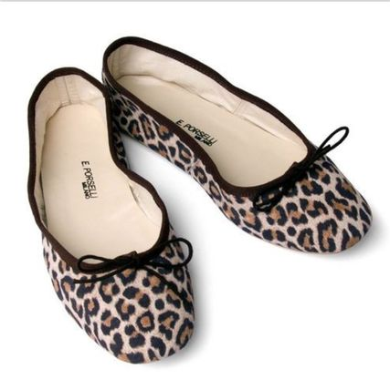 Leopard Patterns Suede Leather Handmade Ballet Shoes
