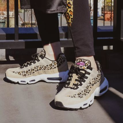 Nike AIR MAX 95 Leopard Patterns Rubber Sole Casual Style Unisex Suede
