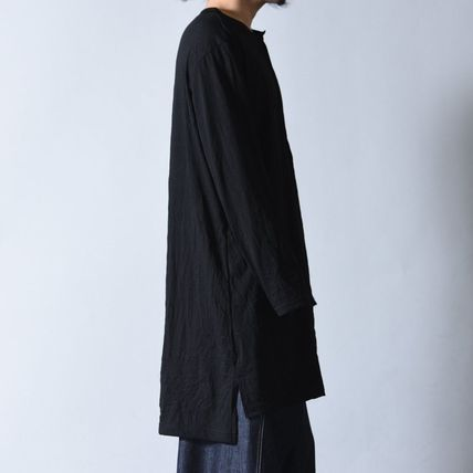 Yohji Yamamoto Button-down Unisex Henry Neck Long Sleeves Plain Cotton