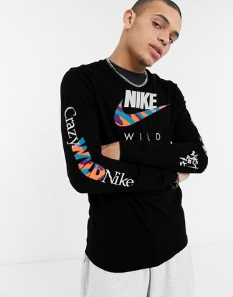 Nike Crew Neck Street Style Long Sleeves Cotton