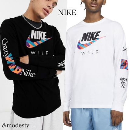 Nike Long Sleeve Crew Neck Pullovers Street Style Long Sleeves Cotton
