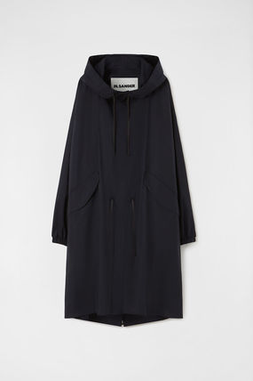 Jil Sander Unisex Plain Raincoat Logo Coats